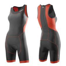 Женский костюм для триатлона Perform Rear Zip Trisuit 2XU WT2706dCharcoalSunsetOrange
