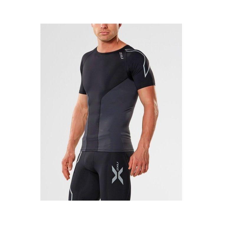 Мужская компрессионная футболка Elite Compression S/S Top 2XU MA3013aBlackSilver