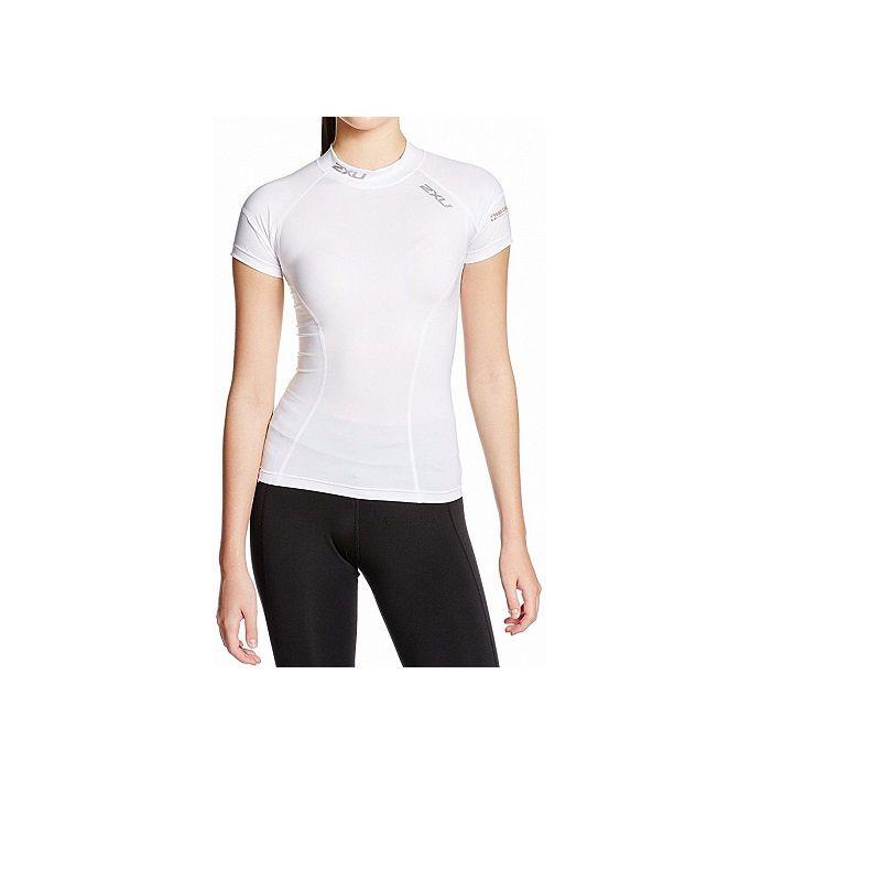 Женская компрессионная футболка Compression S/S Top 2XU WA1983aWhiteSilver