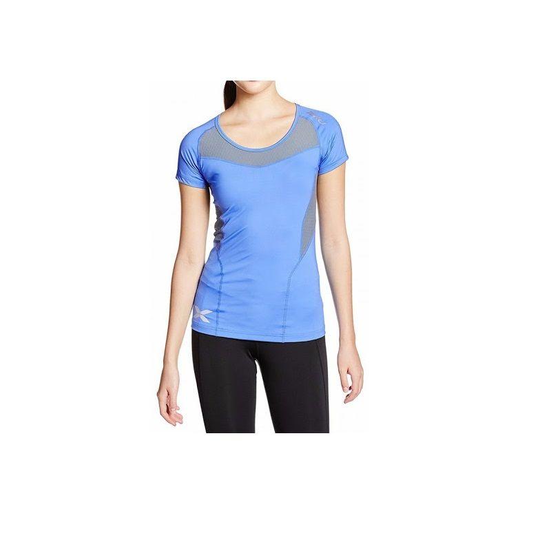 Женская компрессионная футболка Base Compression S/S Top 2XU WA2269aBlueGray