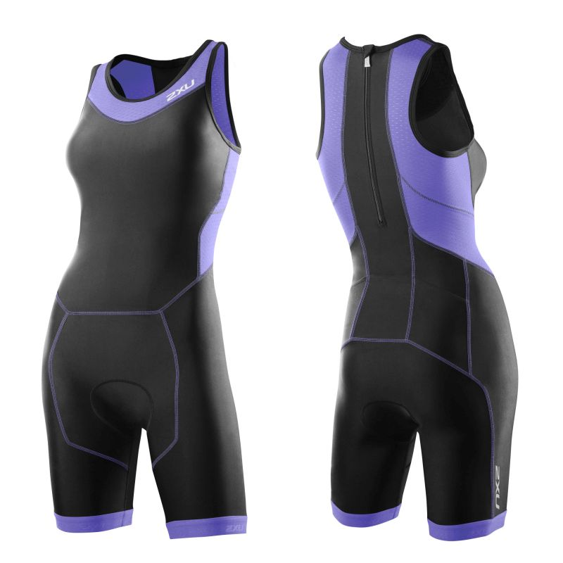 Женский костюм для триатлона Perform Rear Zip Trisuit 2XU WT2706dBlackAmethyst